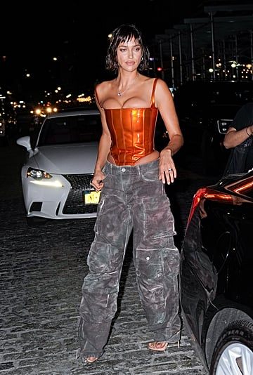 Irina Shayk Wearing Low-Rise Cargo Pants and a Bustier Top