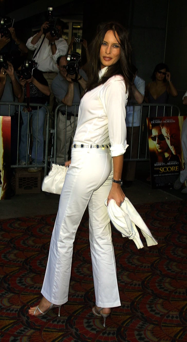 She Styled White Pants With Sandals And A Jewel Encrusted