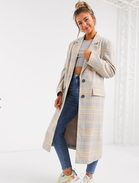 ASOS DESIGN Oversized Longline Check Coat ($130)