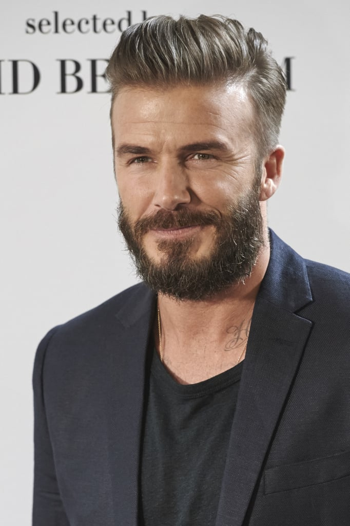 David Beckham showed off some serious facial hair at an H&M event in Spain on Friday.