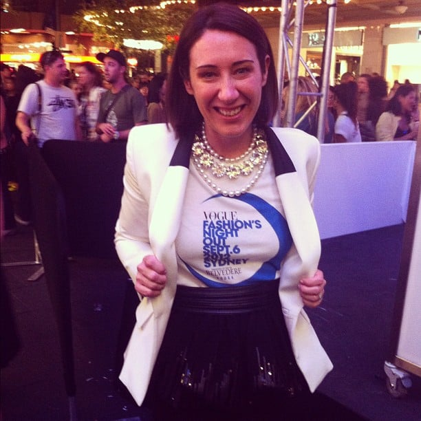 Edwina McCann, editor of Vogue Australia, styled her Fashion's Night Out shirt to perfection. Source: Instagram user thearcfactory