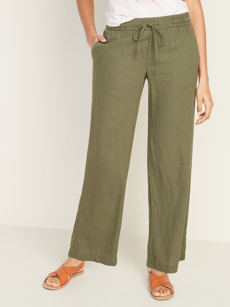 Old Navy Mid-Rise Wide-Leg Linen-Blend Pull-On Pants in Hunter Pines