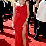 Heidi Klum in a Red One-Shoulder Michael Kors at the 2006 Emmy Awards