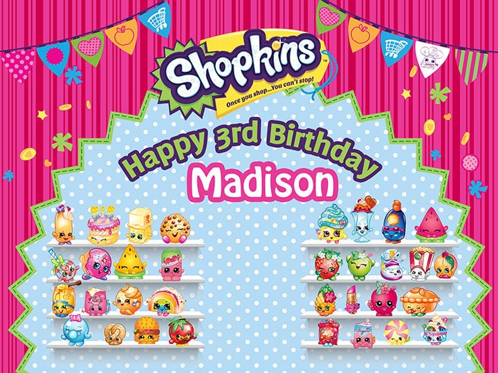 Shopkins personalized party backdrop ($25). | Shopkins Birthday ...
