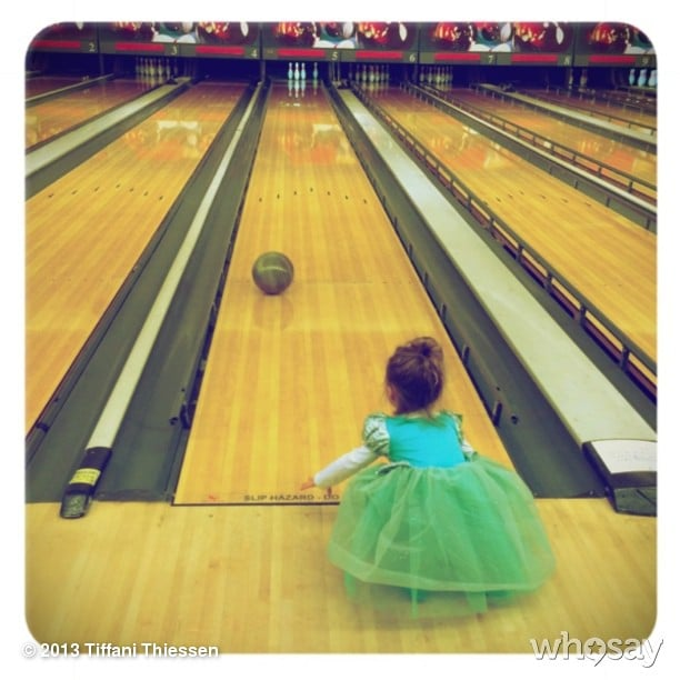 Who says princesses have to be dainty? Harper Smith showed off her bowling moves while wearing a princess dress this week. Source: Instagram user tathiessen