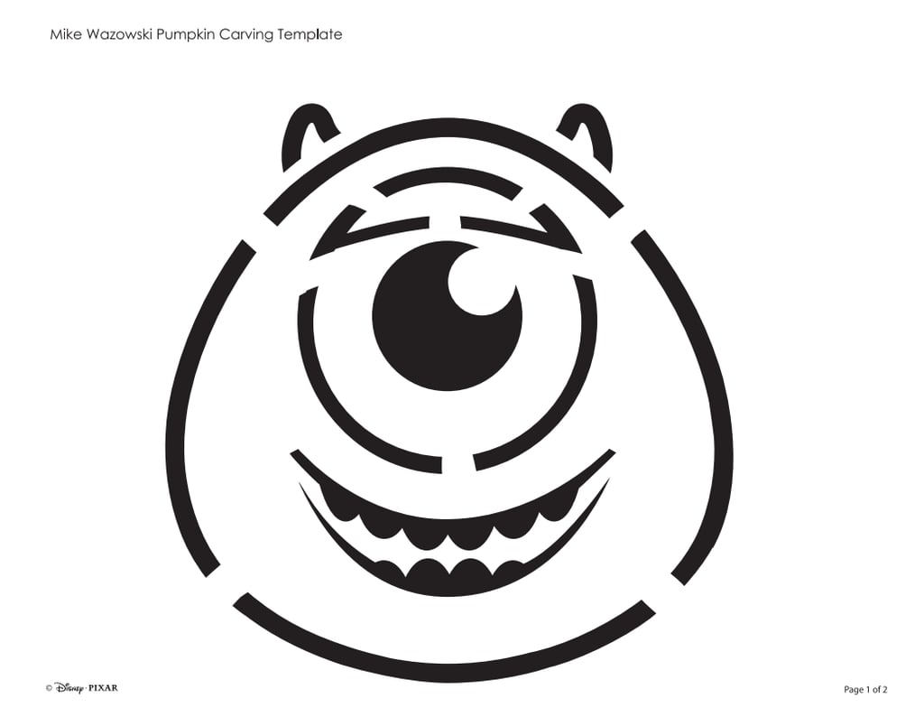 Mike wazowski free disney pumpkin stencils popsugar for Sully pumpkin template
