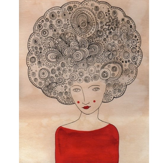 Valerie Galloway's signed print features judicious use of color and voluminous hair to create a mood.