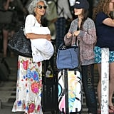Rachel Bilson chatted with her mom at the airport.