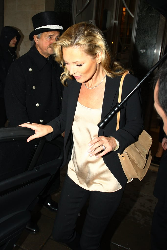 Kate Moss arrived for a Mango event.