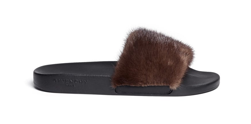 ce3f8907d270 Givenchy Mink Fur Rubber Slide Sandals ( 635)