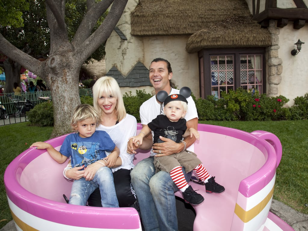 Gwen Stefani and Gavin Rossdale took Kingston and Zuma on the teacup ride in the Magic Kingdom.