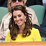 These Soru Baroque pearl earrings edged with Swarovski crystals have swiftly become a favorite. Kate wore the $168 pair at Wimbledon and later in the year during her Canadian tour.