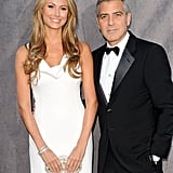 Stacy Keibler wore a white dress as George Clooney's Critics' Choice Awards date.