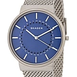 What guy wouldn't love the combination of steel and Facebook blue? We were immediately attracted to Skagen's Ancher Mesh Bracelet Watch ($80).