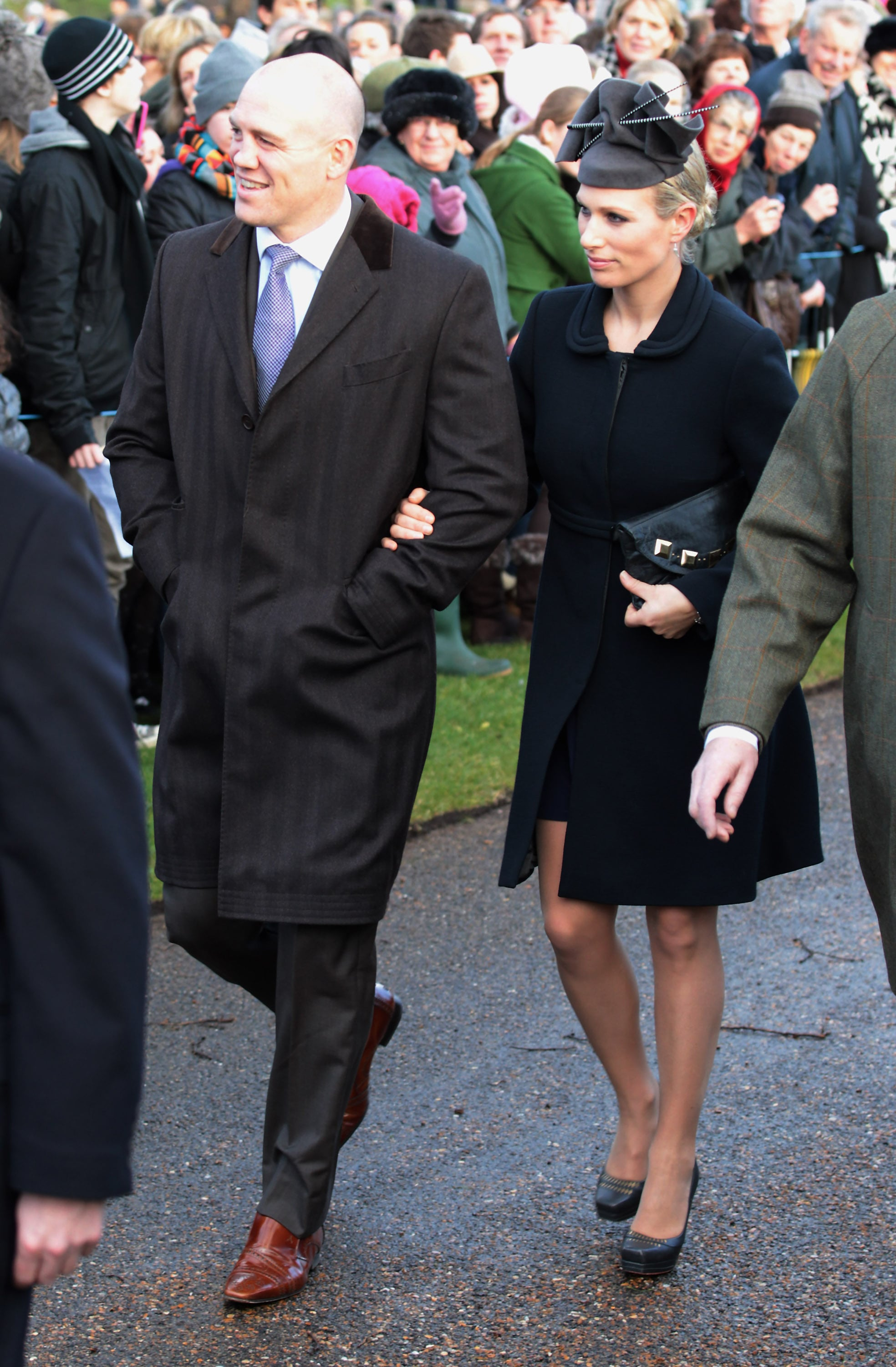 Zara and Mike went to the traditional Christmas Day services in 2011 with the royal family.
