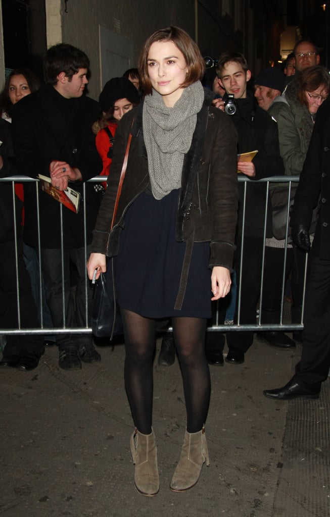 Keira Knightley wrapped up in a cozy scarf and jacket before leaving London's Comedy Theatre last night. The actress is making the venue her home away from home as she preps to share the stage with Mad Men's Elizabeth Moss in The Children's Hour, which officially opens on Feb. 9. Britons will be able to see even more of Keira now that Never Let Me Go, in which she stars opposite Carey Mulligan, hits theaters there next week. Carey promoted the film with a cover of Elle UK in January, and now Keira's fronting the March issue. Keira was happy to share about fashion, her hectic schedule, and her return to the stage, but didn't mention her recent breakup from Rupert Friend. Carey has likewise been mum on a topic her fans are curious about after she debuted her new boyfriend Eddie Redmayne on a weekend walk in NYC.