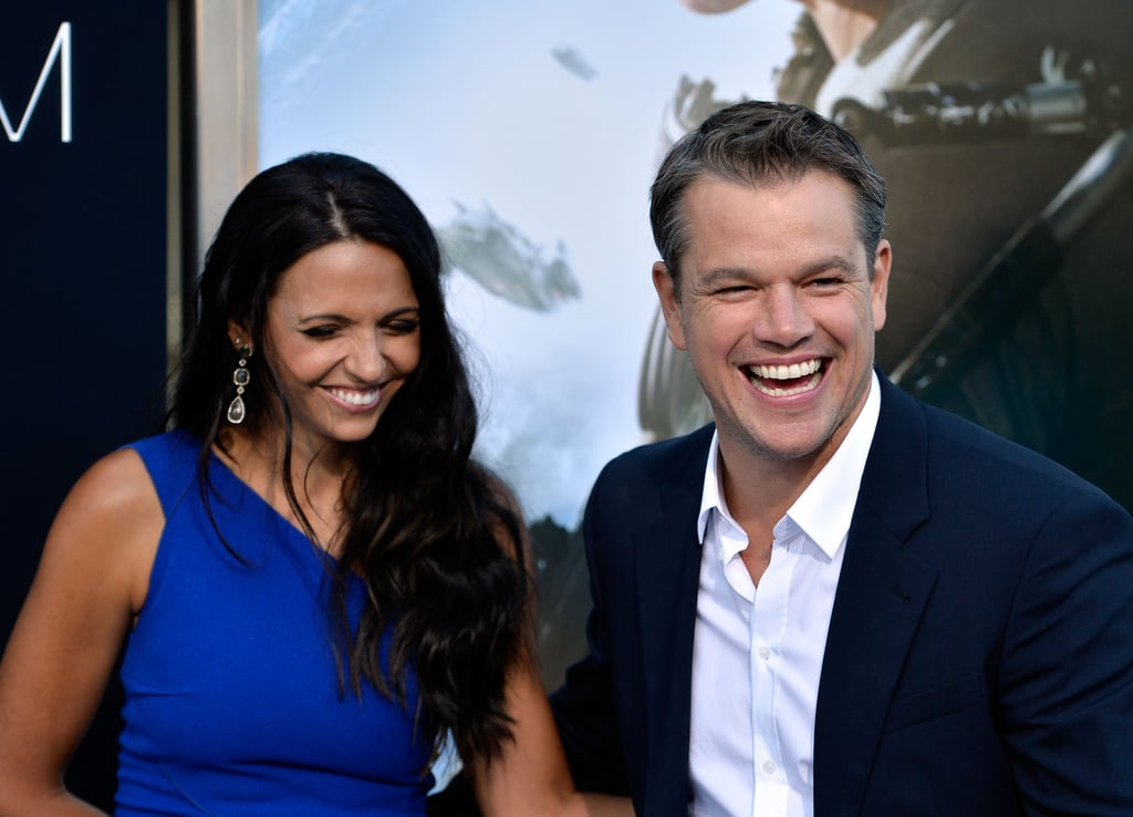Matt Damon and his wife, Luciana Damon, made an adorable couple as they laughed their way down the red carpet at his LA premiere of Elysium.