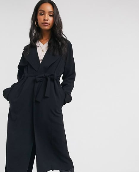 ASOS DESIGN Waterfall Duster Coat in Black ($100)