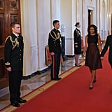 President Barack Obama and Michelle Obama walked through the White House on their way to the ceremony.