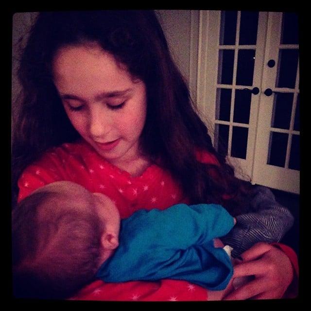 Poet Goldberg showed off her baby-whisperer talent to her baby brother, Lyric. Source: Instagram user moonfrye