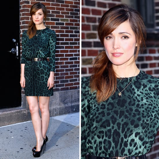 Rose Byrne Wears Dolce and Gabbana Leopard Print Dress