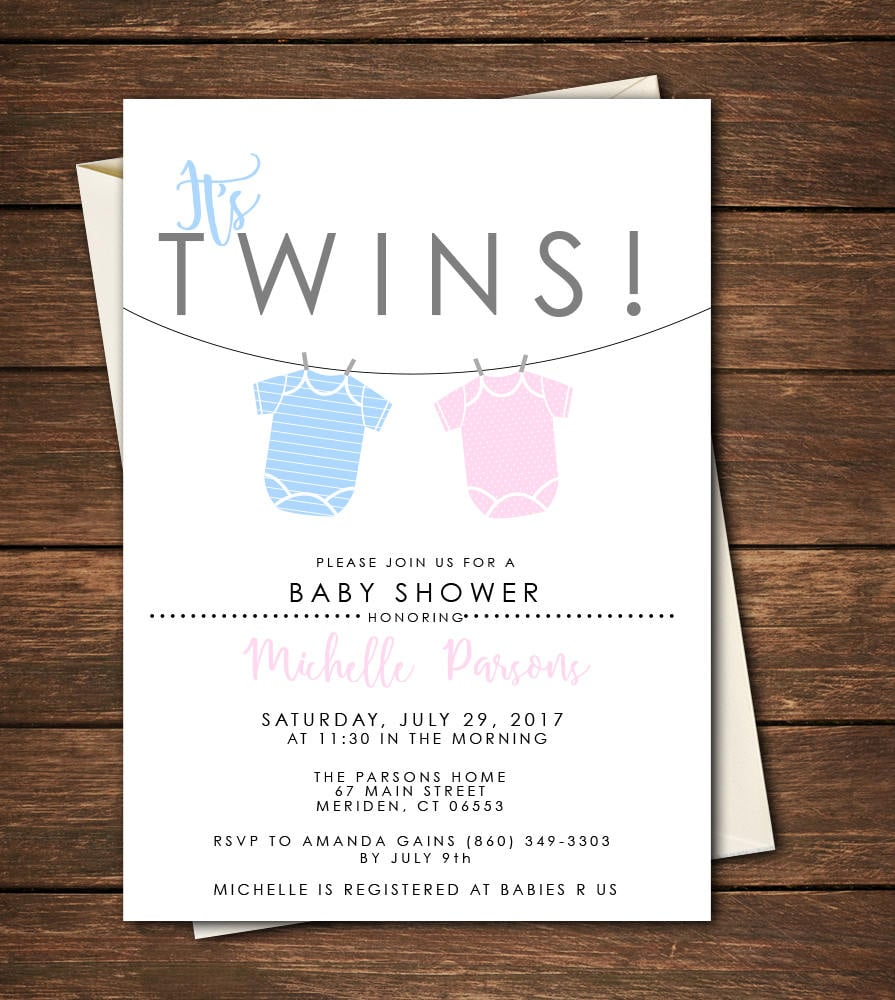 Twin Baby Shower Invitations Twin Baby Shower Ideas Popsugar