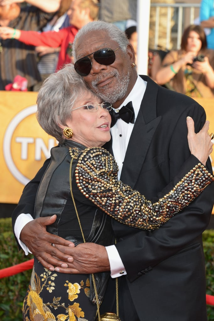 Morgan Freeman got a hug from Rita Moreno on the carpet, before heading inside where he presented her with the SAG life achievement award.