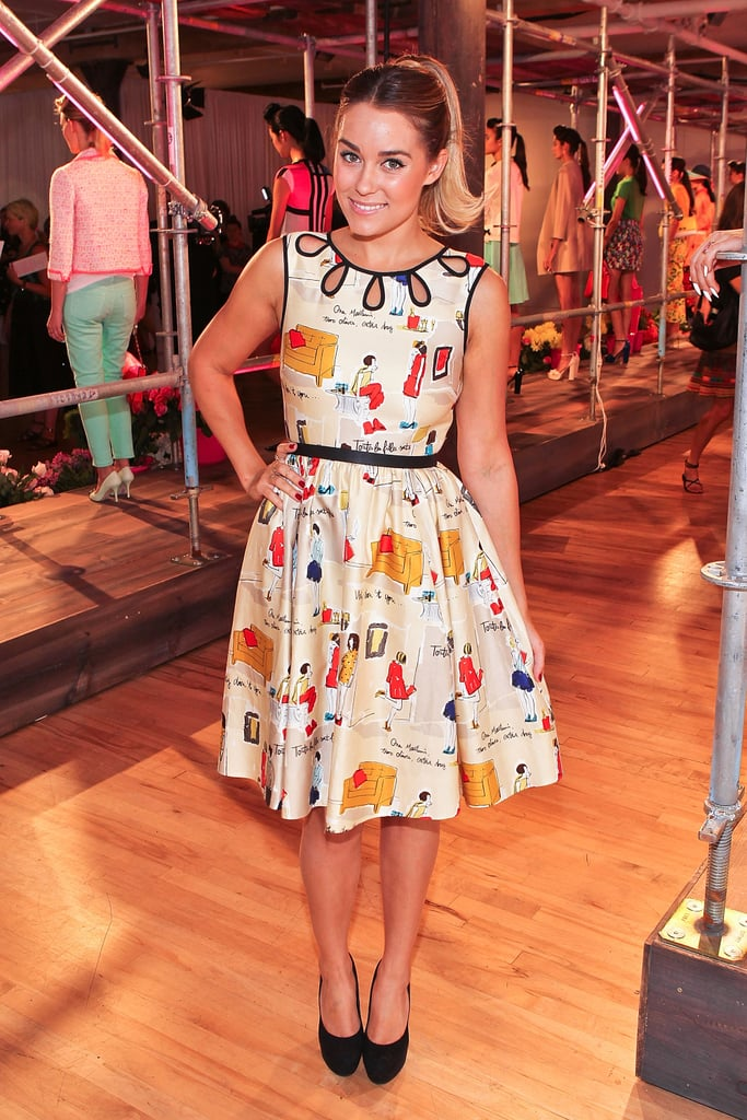 LC opted for a quirky printed Kate Spade fit-and-flare at the designer's Spring 2013 presentation during NYFW.