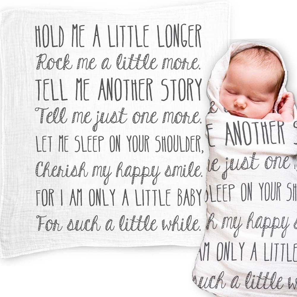 """Baby Swaddle Blanket With """"Hold Me a Little Longer"""" Quote"""