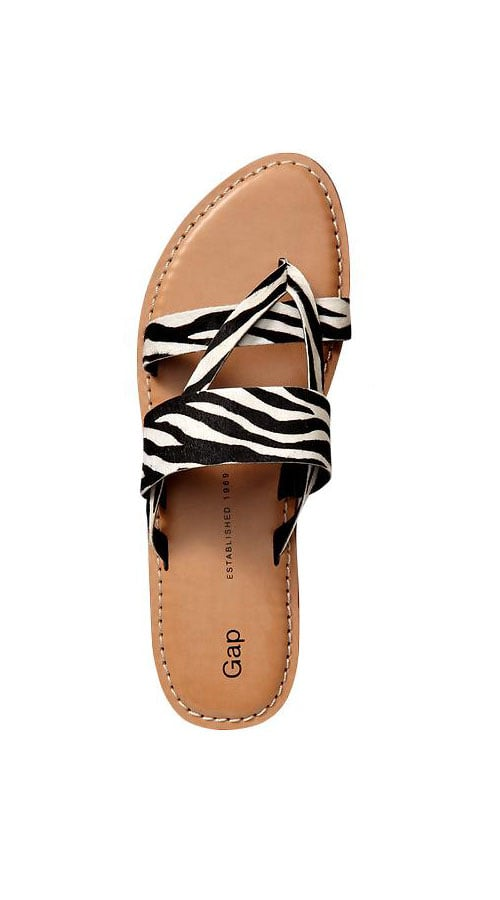 Take a walk on the wild side with Gap's zebra-print slides ($40).