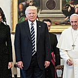 Melania Trump Wore a Black Dolce and Gabbana Dress and Lace Veil While Visiting Pope Francis