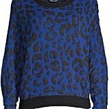 Scoop Leopard Intarsia Boxy Crewneck Sweater