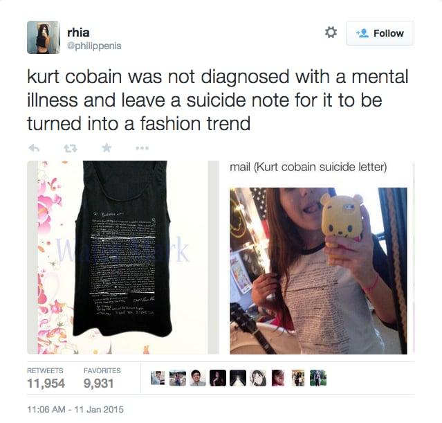 Twitter Responses to the Kurt Cobain T Shirt