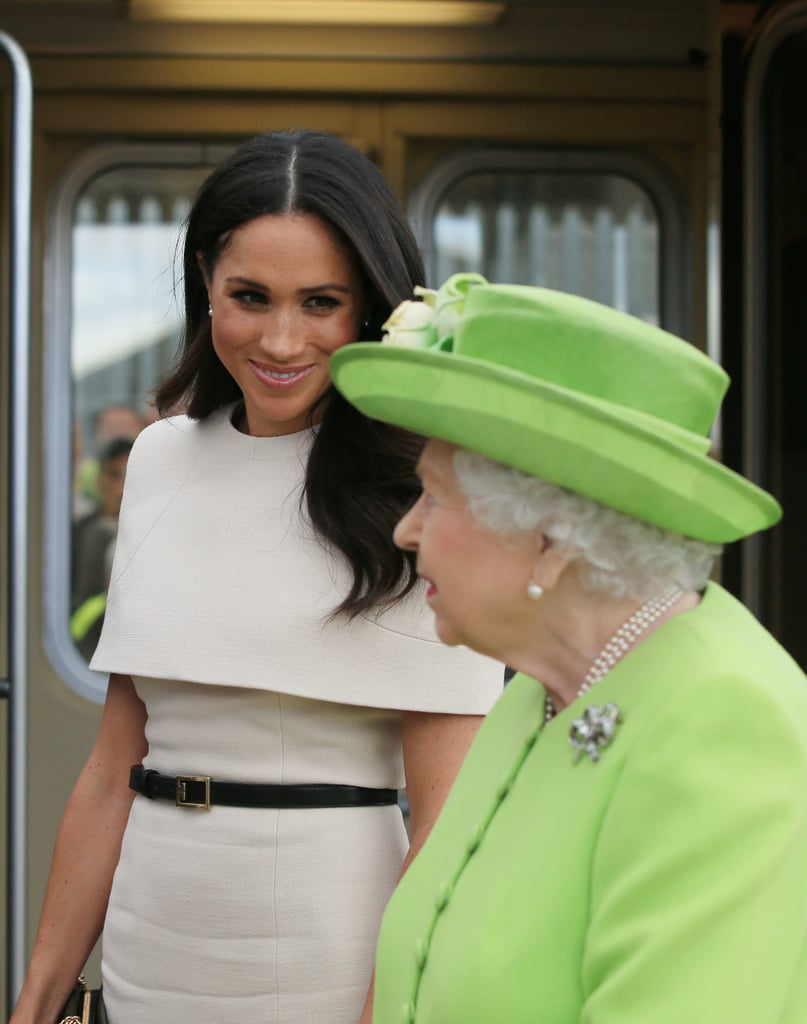 June: Meghan embarked on her first solo appearance with Queen Elizabeth II, arriving by royal train in Cheshire, England.