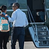 Barack boarded Marine One with Malia to return to Martha's Vineyard for the family's annual Summer vacation in August 2014.