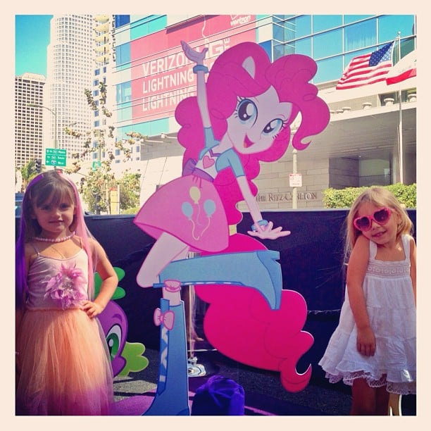 Alessandra Ambrosio snapped a photo of her little girl, Anja, with a friend at the My Little Pony Equestria Girls premiere.  Source: Instagram user alessandraambrosio