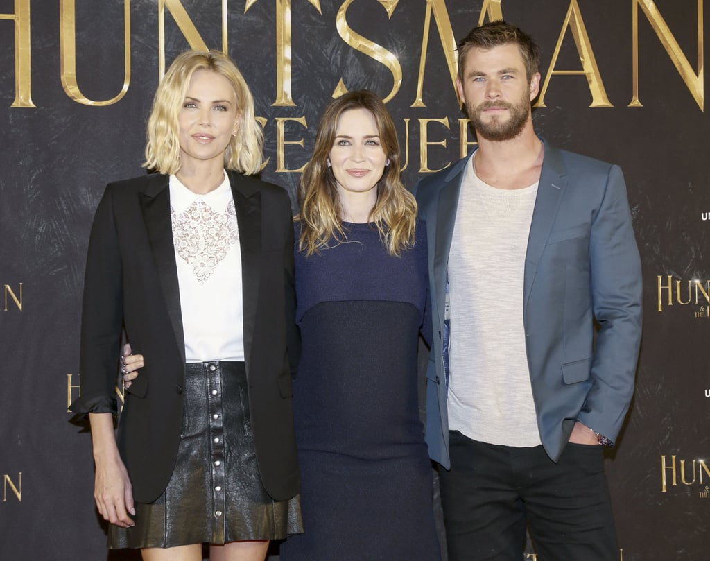 "The painfully attractive cast of The Huntsman: Winter's War — Charlize Theron, Emily Blunt, and Chris Hemsworth — linked up in Hamburg, Germany, on Wednesday for a photo-call. The trio smiled for pictures together while promoting the fantasy drama, which is the sequel to 2012's Snow White and the Huntsman; Emily, who is pregnant with her second child with husband John Krasinski, shared an especially cute moment with Chris on the red carpet.  In a recent Wall Street Journal profile, Emily gushed about her co-star, saying, ""Charlize is the most self-possessed person. She doesn't baby you — she treats you like a grown-up. And after the take, she tells you the dirtiest of dirty jokes."" Charlize also opened up about her heartbreaking split from Sean Penn last year, saying, ""We were in a relationship and then it didn't work anymore. And we both decided to separate. That's it."" Of rumors that she ""ghosted"" him, Charlize quipped, ""I still don't even know what it is."" Keep reading to see Charlize and her Huntsman co-stars in Germany!"