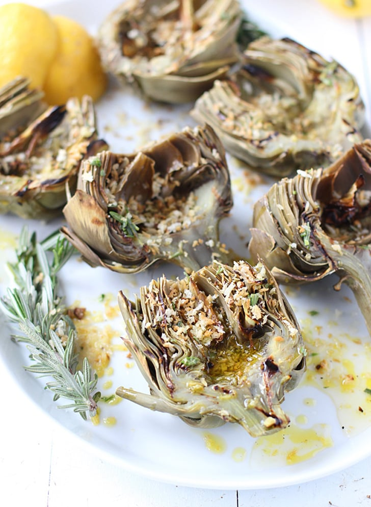Grilled Artichokes With Rosemary Lemon Vinaigrette and Garlic Breadcrumbs
