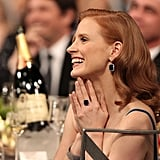 Jessica Chastain smiled big.