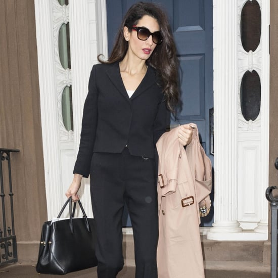 Amal Clooney Black Pantsuit in NYC