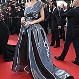 Petra Nemcova wore a liquid metallic gown to the Julieta premiere.