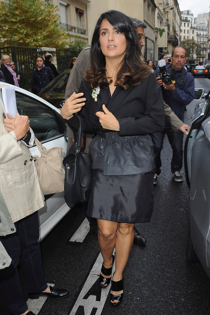 Salma Hayek made her way towards the Balenciaga show.