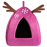 Hollypet Self-Warming 2-in-1 Cat Bed — Pink Reindeer