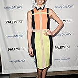 Jayma Mays was all smiles posing in a colorblock Paper London shirtdress and pointed nude pumps at creator and friend Ryan Murphy's PaleyFest Icon Award ceremony in LA.