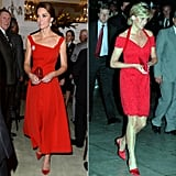 Kate wearing a red Preen dress in 2016 and Princess Diana wearing a Catherine Walker lace mini in 1995. (We also couldn't help but call out the fact that Princess Diana's dress designer shares the same name as Kate!)