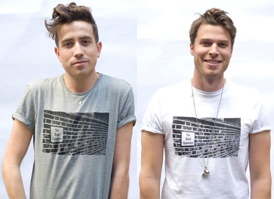 Nick Grimshaw and Rick Edwards Model Everyman No Ball Games T-shirts for Charity