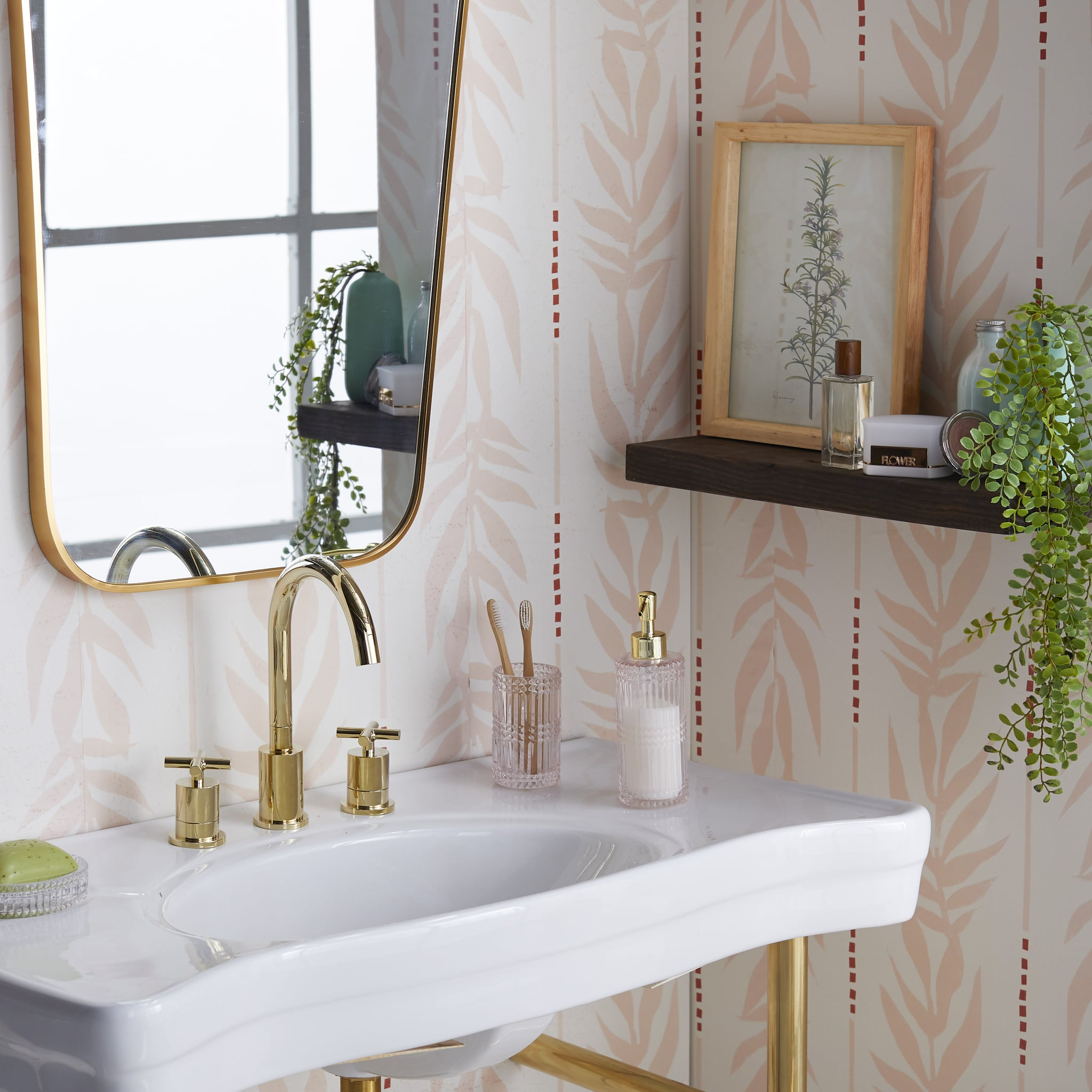 Peach Vintage Palm Peel And Stick Wallpaper Drew Barrymore S