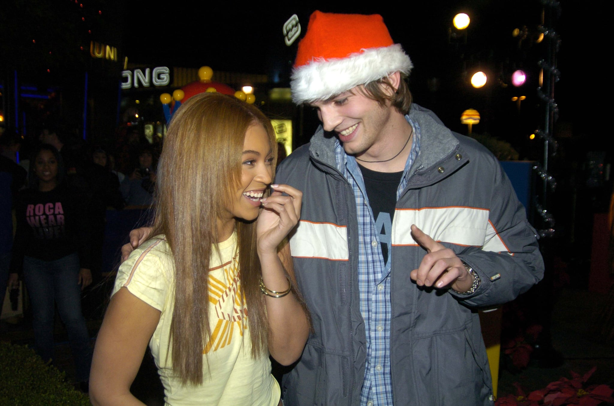 Beyonce and Ashton Kutcher during Beyonce Gets Punk'd at Universal Studios Hollywood in Universal City, California, United States. ***Exclusive*** (Photo by Jeff Kravitz/FilmMagic, Inc)