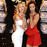 Adriana Lima and Candice Swanepoel attended a press conference for Victoria's Secret in London on Tuesday.