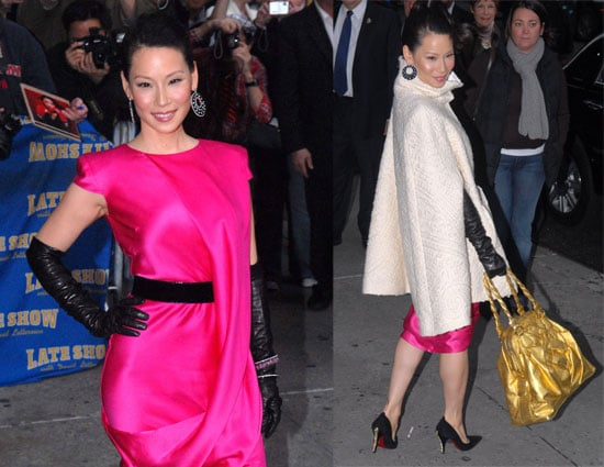 Lucy Liu Looks Loud at the Late Show